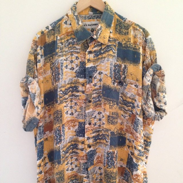 85aaae8a26d 90 s abstract pattern vintage retro cool funky shirt yellow - Depop