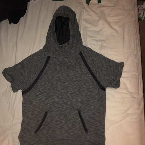 f6a64083f Hoodie T-shirt! Has a mesh/net like material in hood and on - Depop