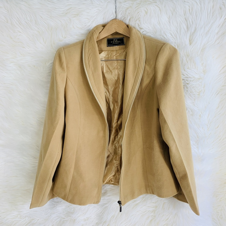 8fece296 Fendi Cashmere Full Zip Up Blazer Jacket for Women... - Depop