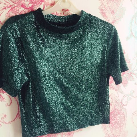 132e3df300ad2 Top shop green glittery short sleeved crop top