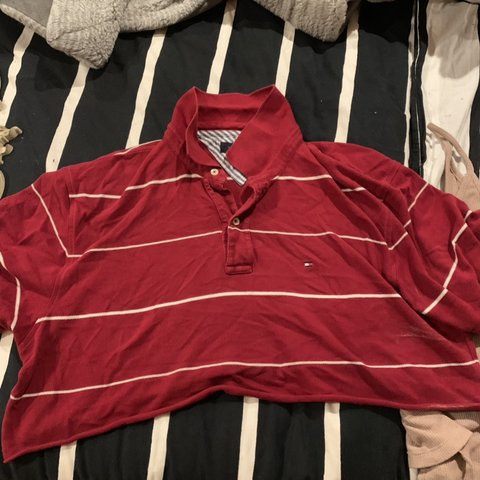 abcd96fbc9691 Vintage striped Tommy Hilfiger crop top Labeled as a Large a - Depop