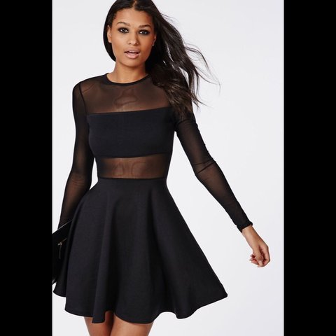 a739cf1e3b0d Missguided black mesh skater dress. Never worn. Tags still - Depop
