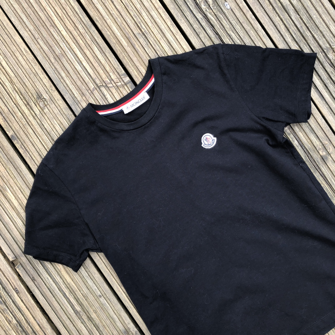 7c11444e4 Moncler T-shirt plain black with small embroidered... - Depop