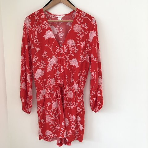 4f1ab0d136a ♥ H M long sleeved red and white floral print playsuit with - Depop