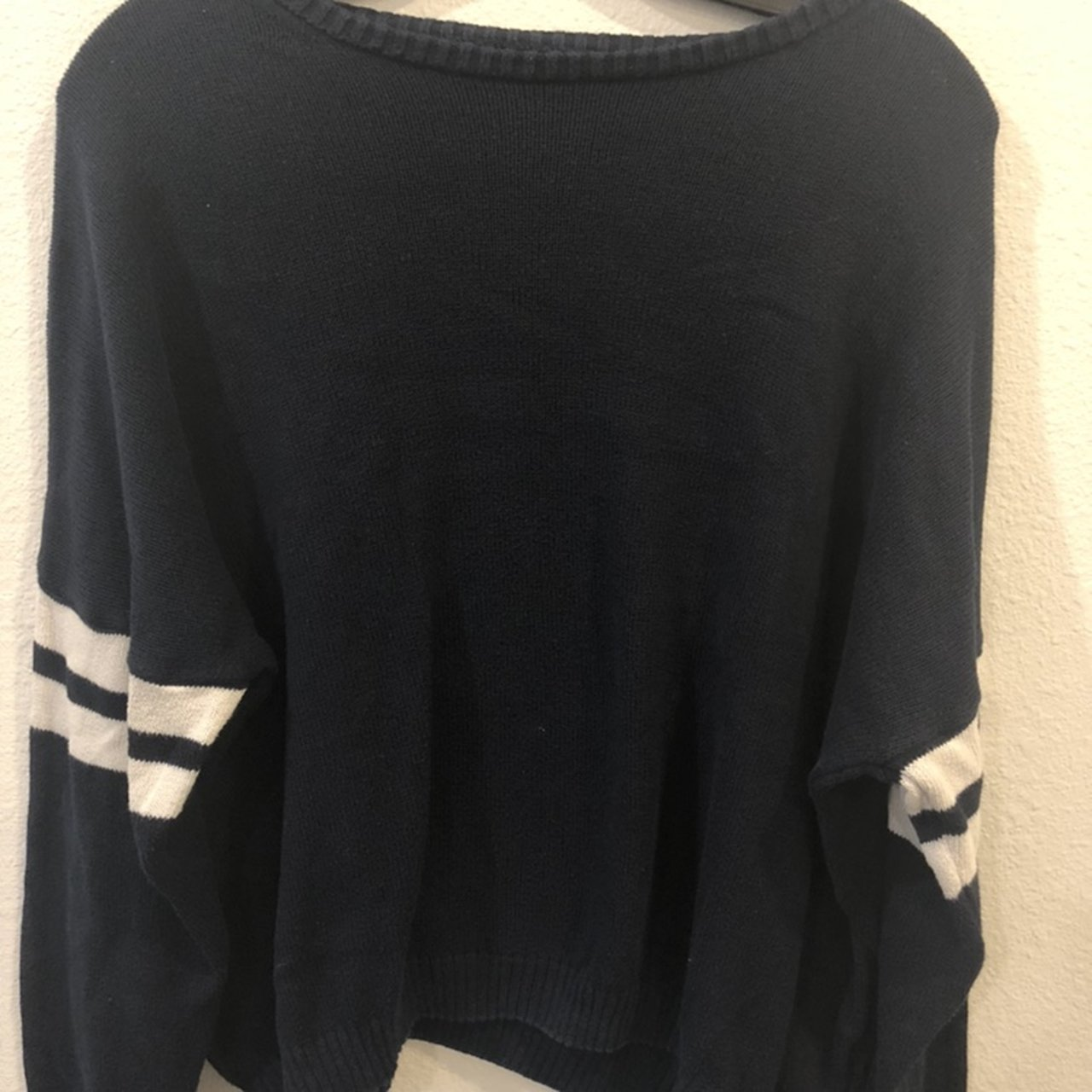 Brandy Melville navy blue vneck knit sweater. used a few but - Depop 7d90e5a65