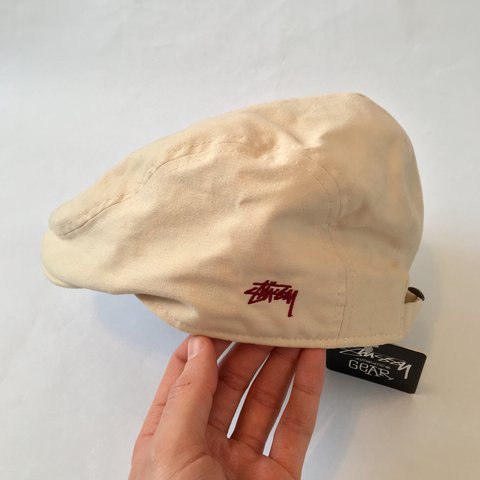 8ad1cac593d07 Stussy Cream Flat Cap. Sample piece - very rare. Brand new - Depop