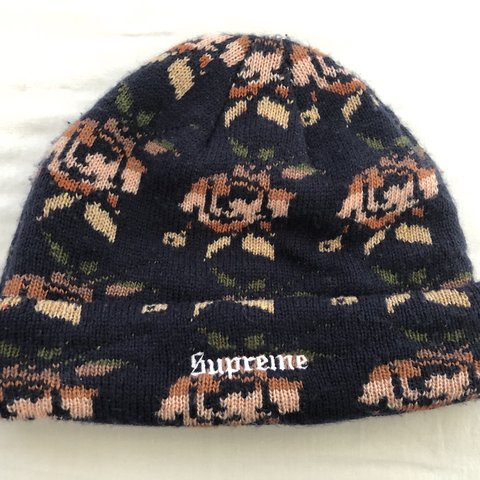 dd21155e597 Supreme Rose Jacquard beanie navy Used but great condition - Depop