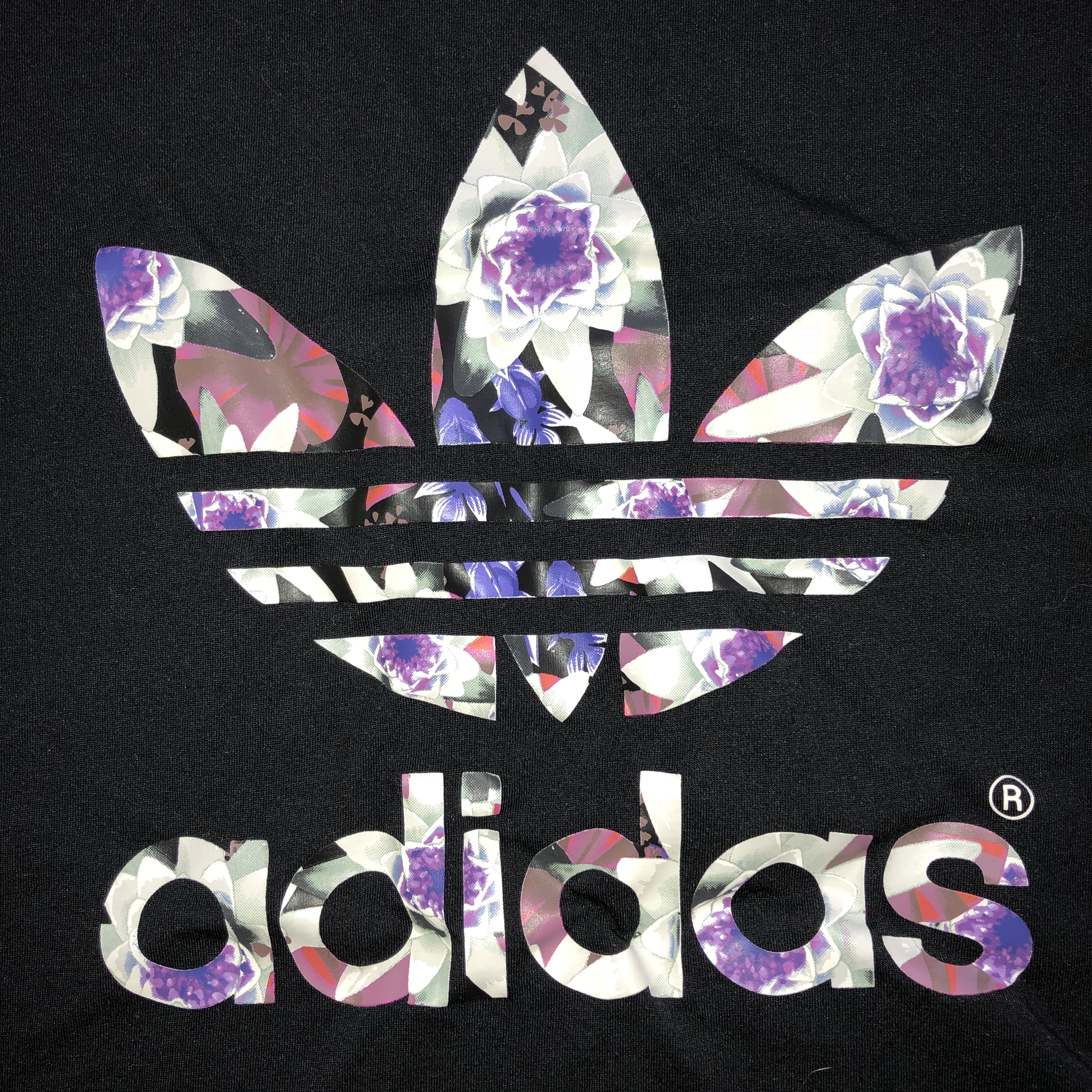Pretty Adidas Top Black With Gorgeous Floral Logo Depop