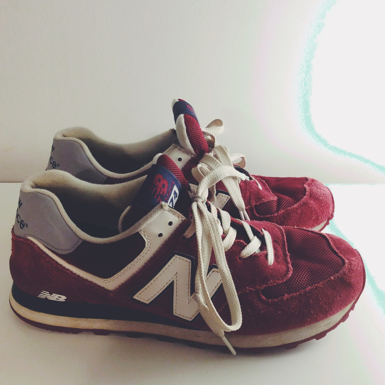 best service 0d209 b5b21 ✨ new balance 574 burgundy trainers ✨ bought for... - Depop