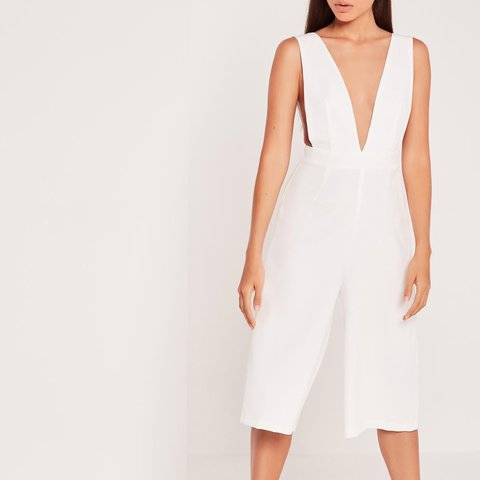 84a797f91d White culotte   flare leg plunge jumpsuit from once for out - Depop