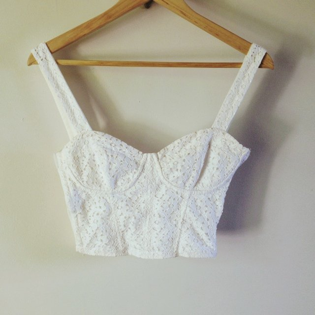 dccc52e745ab6 Topshop white floral lace strap cropped bralet with hook and - Depop