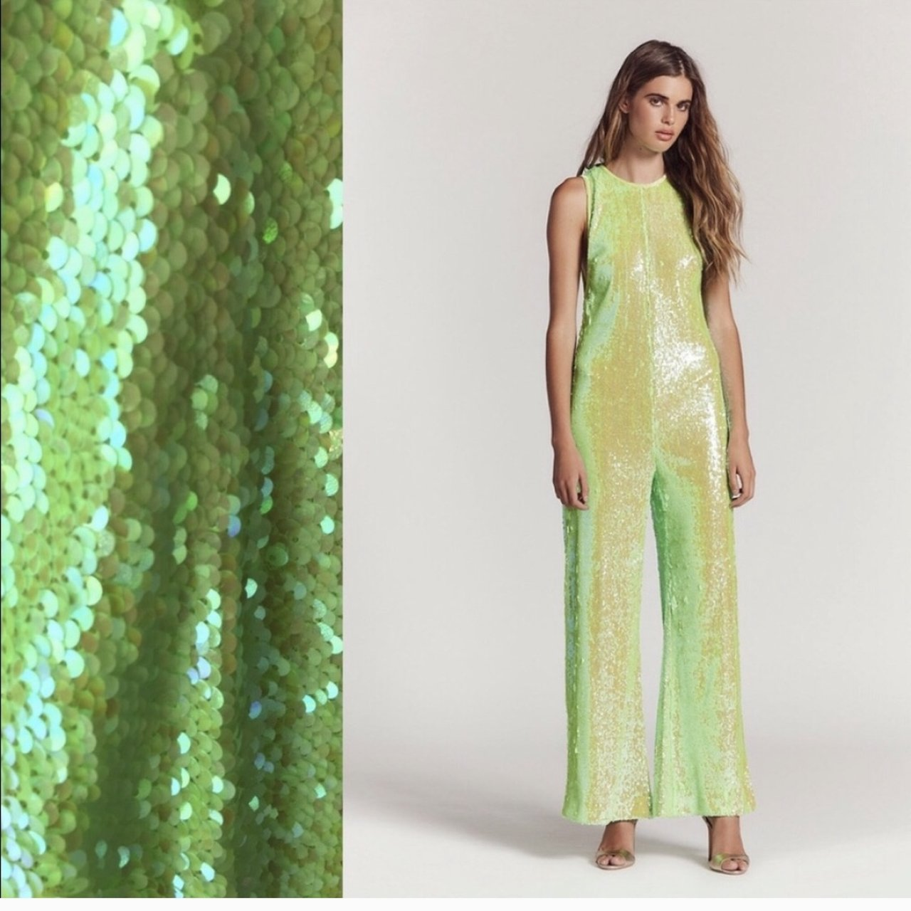 54dfd7cdf4fa Green sequin free people jumpsuit like new worn once - Depop