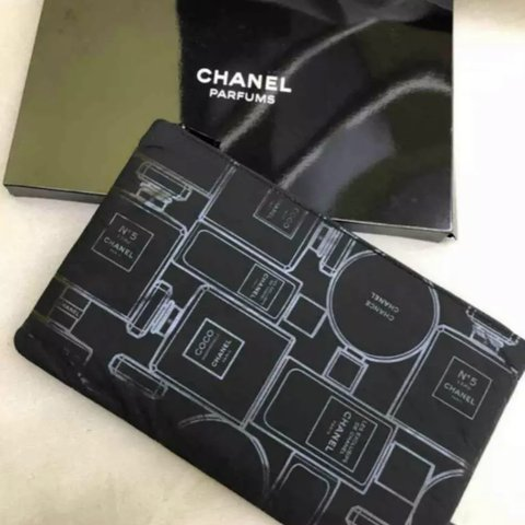 fdc7056b3bc2 Chanel Parfums 2017 New Black Cosmetic Pouch Bag - Fully - Depop