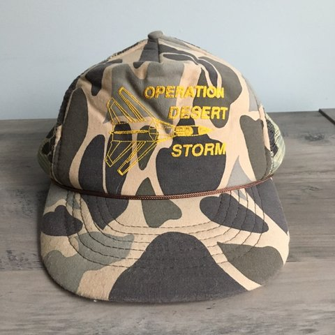03e2b8a321474a @jessefromtheblock. last month. Manchester, United States. Vintage  operation desert storm camouflage snapback trucker hat ...
