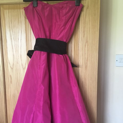 56206d5bea Hot pink prom style dress with black satin sash and black 8 - Depop