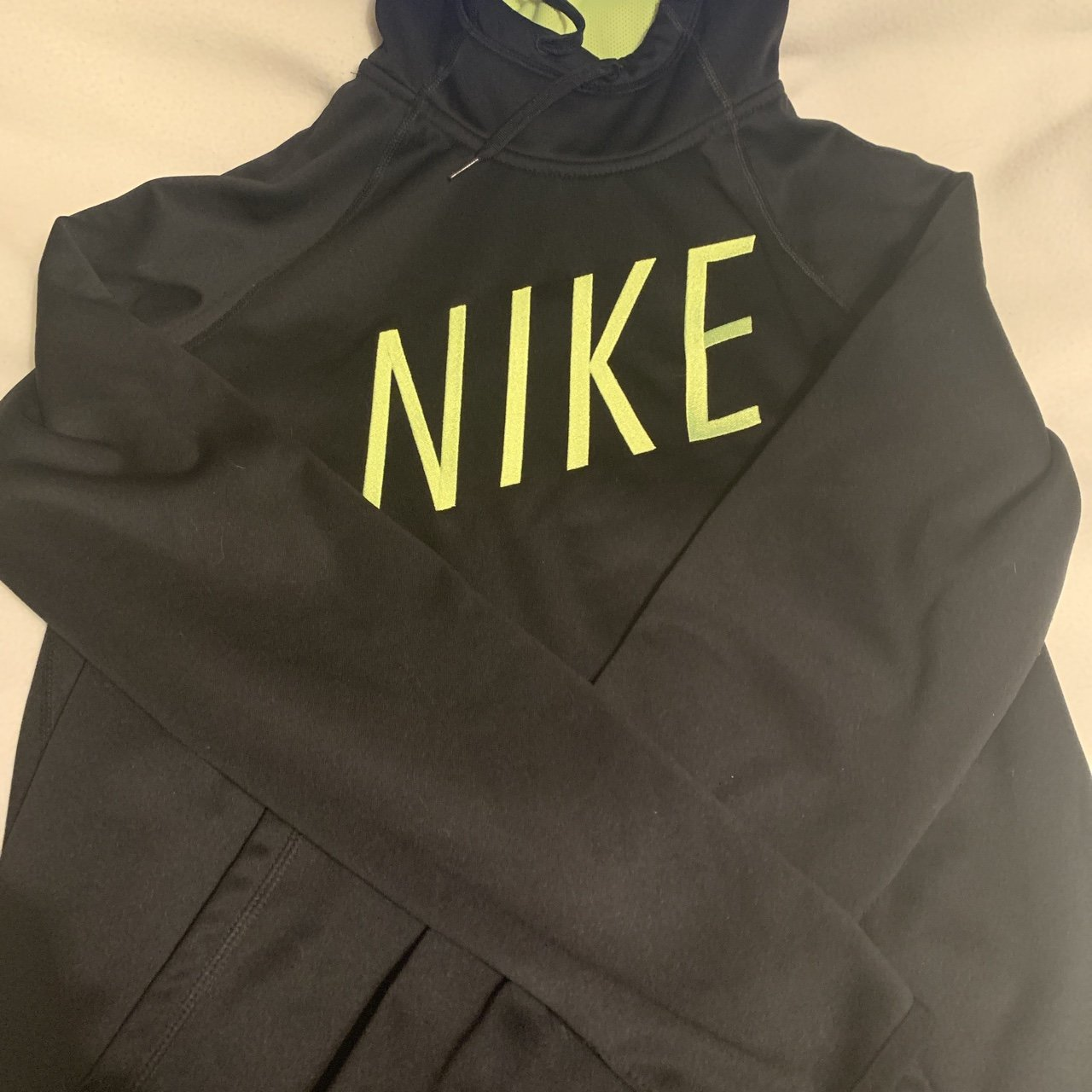 69601ff82a4b Nike Dry Fit Hoodie Black and Yellow 🖤💛 - Depop