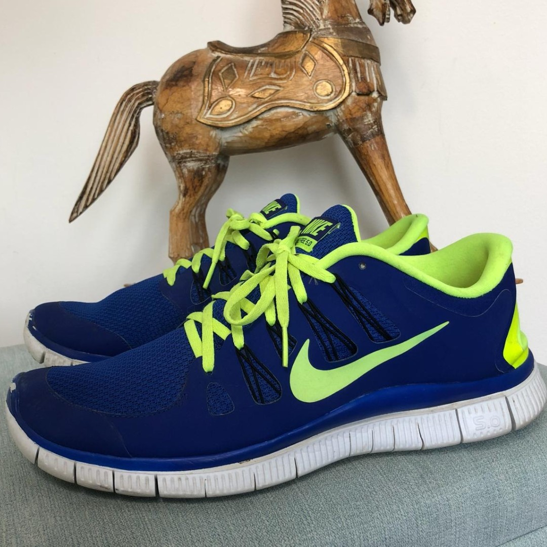 Nike 5 0 Free Running Trainers Mens Blue And Yellow Depop