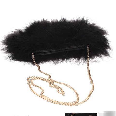 06c1b4090 @keeleysylvia. last year. Oldham, United Kingdom. Missguided fluffy feather  clutch bag cross body ...