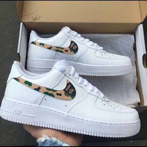 8ad4e5c2073 ... denmark nike air force 1 bape camo free hand custom paint job depop  a4890 50834