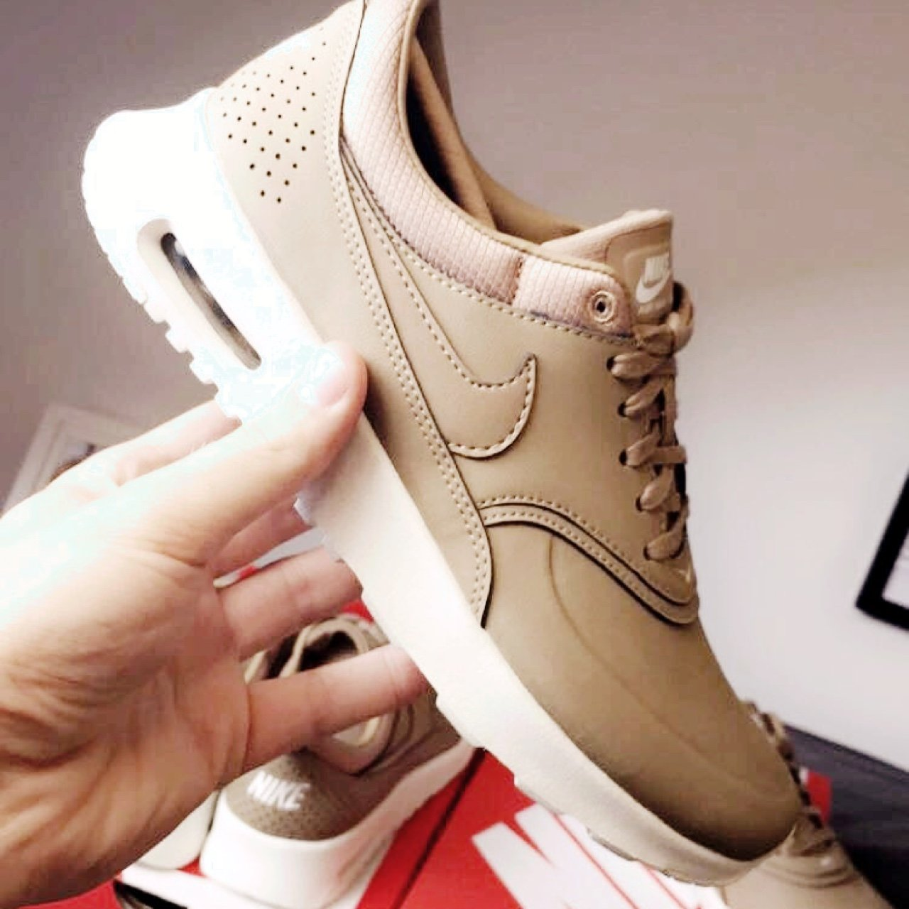82a08d4d91552 REDUCED £125 PP Only! Nike Air Max Thea Desert Camo   Nude   - Depop