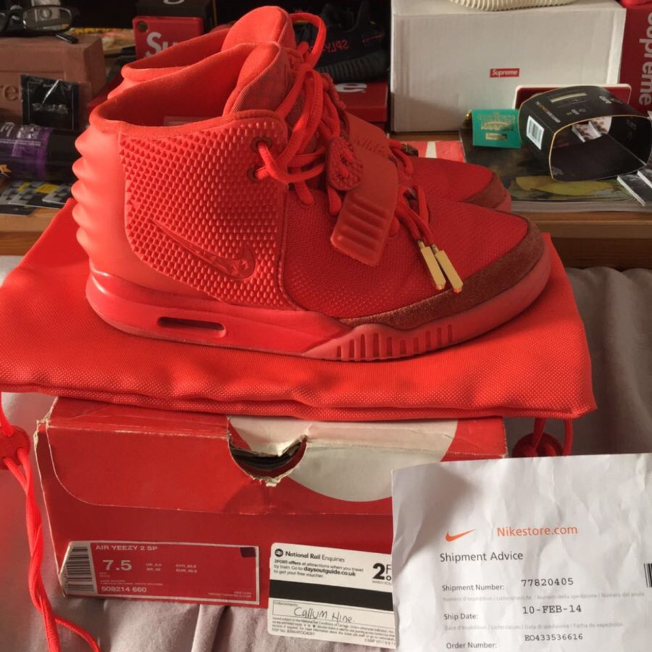 4206bec25 Nike Air Yeezy 2 Red October uk 6.5 8.5 10 just a little on - Depop