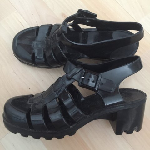 65d39b8c1b1 Black juju jellies  jelly shoes  chunky sandals with heel. V - Depop