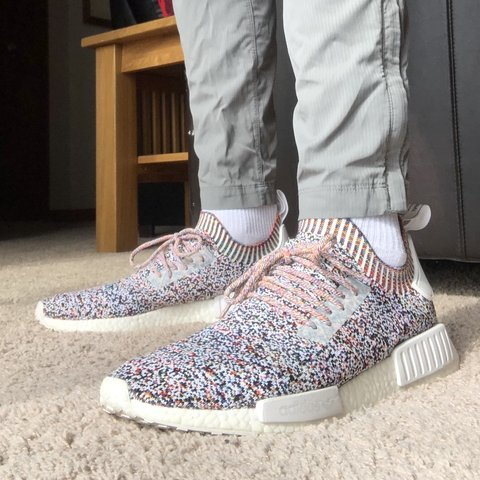 "9b592c17f5046 Adidas NMD R1 PK ""Colour Static"" SIZE 12 7.5 10 with OG box - Depop"