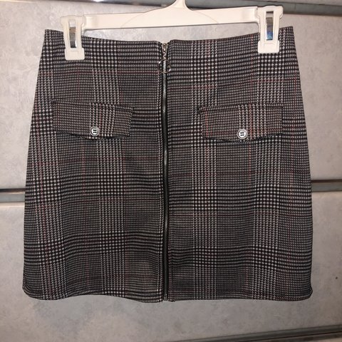 Zumiez Plaid Zip Up Mini Skirt Pockets Are Fake But Zipper Depop