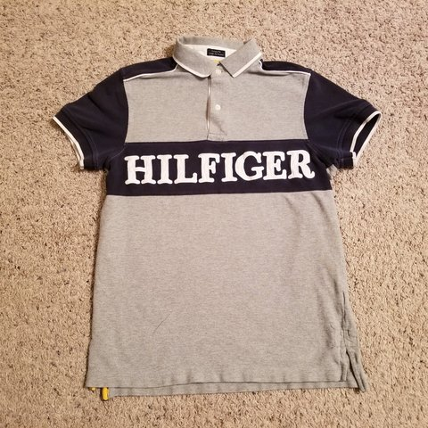 0502a3dd19a Tommy hilfiger polo .. great condition.. cut and sew... grey - Depop