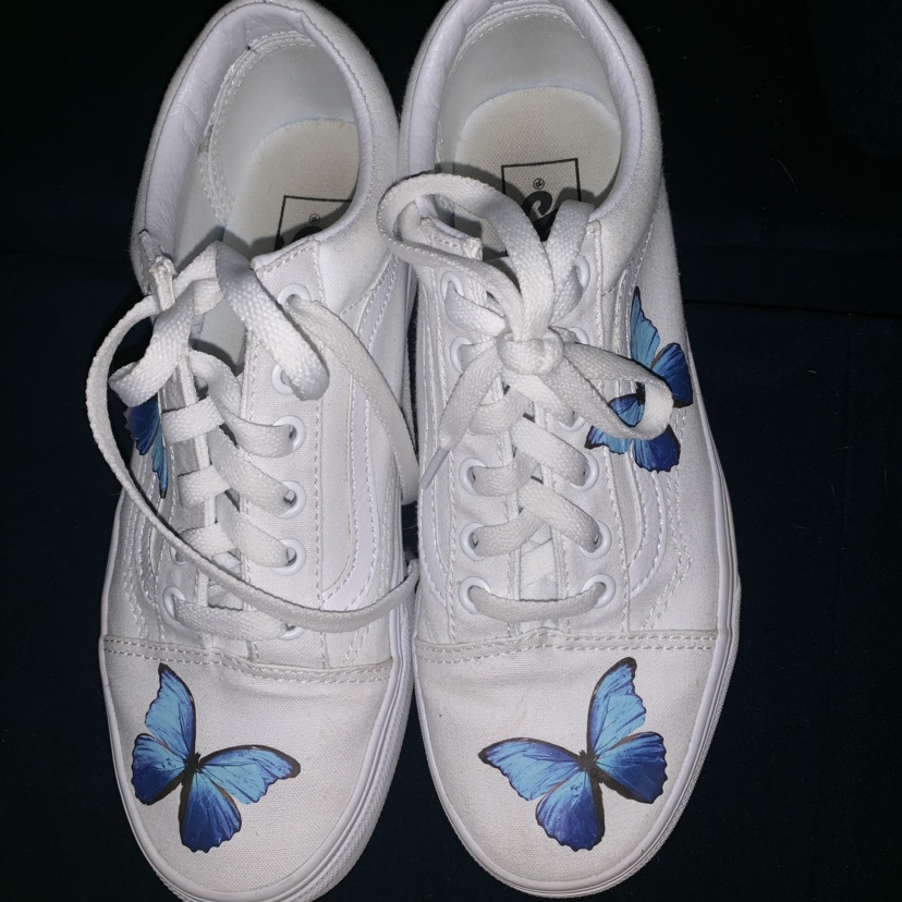 bottom price hot-selling latest the sale of shoes custom blue monarch butterfly vans! men's 6,... - Depop