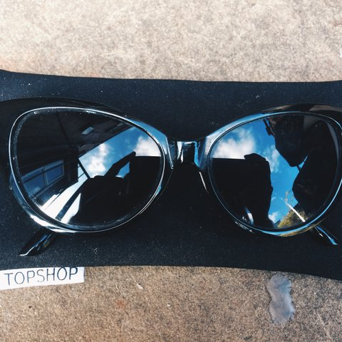 7255e04292 Vintage black cat eye sunglasses. Free topshop glasses Great - Depop