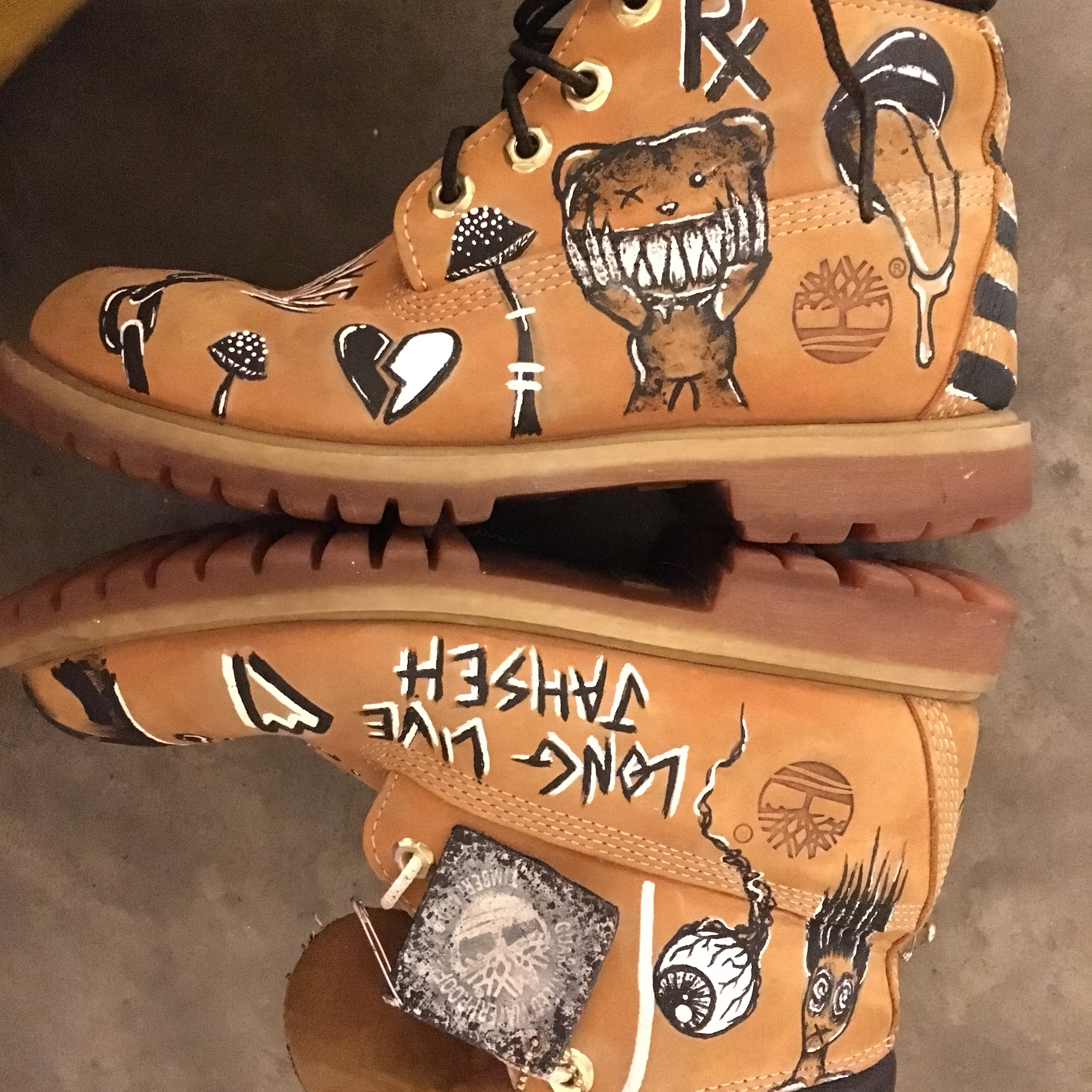 Hand painted, customized timberland