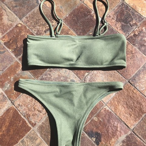 473aefd80839f lime green ribbed bikini set strapless or with straps. never - Depop