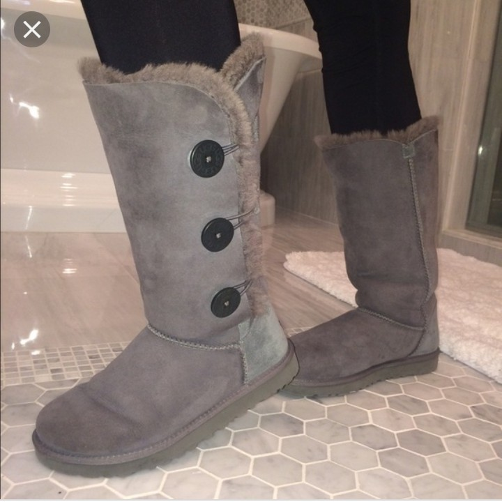 shopping discount sale latest Genuine grey ugg boots triple Bailey button size 7... - Depop