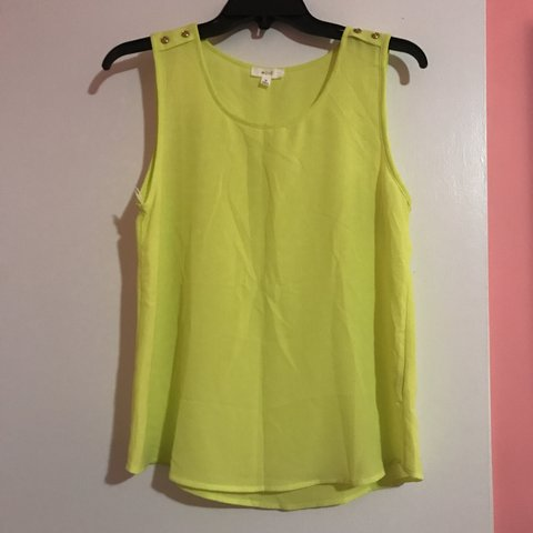 f3e4d2c50e7230 Bright neon yellow to lime green tank top. Gently worn. - Depop