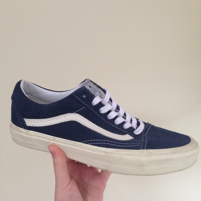 bd10f1c852 UK Size 5 navy blue and white Old Skool Vans. Only worn 2 or - Depop
