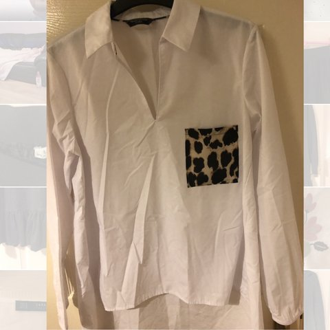 889a2f7c0dbb9 Zara white shirt leopard print pocket- great condition size - Depop