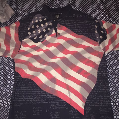 fc94f01d American flag 🇺🇸 polo shirt with Constitution in the Be - Depop
