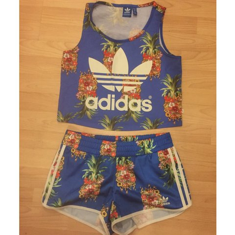 7349b01ede5 Adidas X Farm Blue Pineapple 2 piece , shorts and crop top - Depop