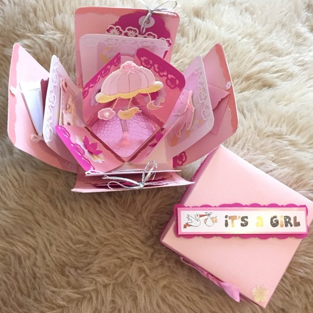 Large Baby Girl Exploding Box Card Great As A Baby Showers Depop