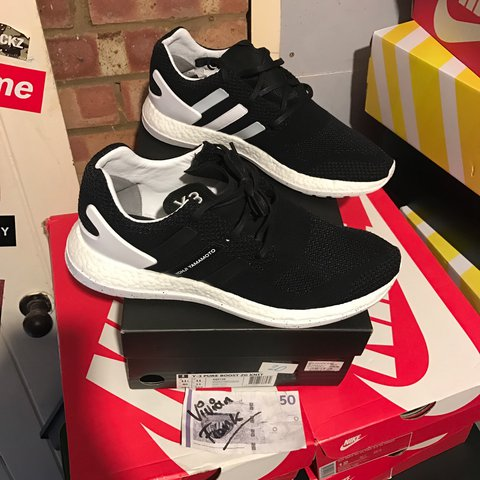 efceaa219 Y3 Pure Boost ZG Knit Black   White Purchased at Harvey Nics - Depop