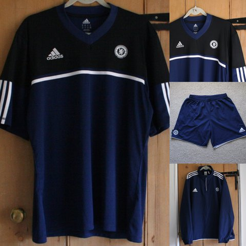 b5a5ab0c06d Official Adidas Chelsea FC full football training kit jersey - Depop