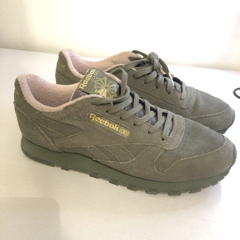 deea5fc9ea7be REDUCED  springsale Classic Suede Ladies Women s Khaki Green - Depop
