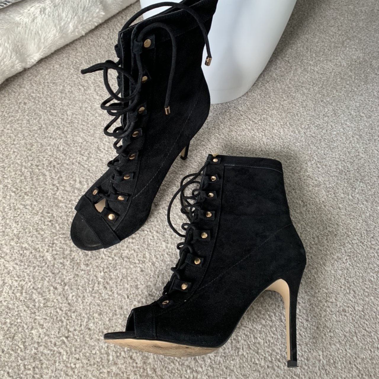Aldo suede lace up open toe ankle boots