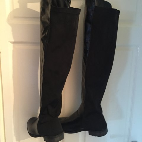 2212f5c41344 Black faux leather knee high length boots, with black nylon - Depop