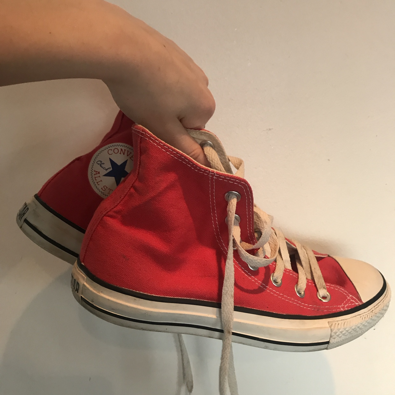 Red high top converse all star. Red chuck taylors Depop