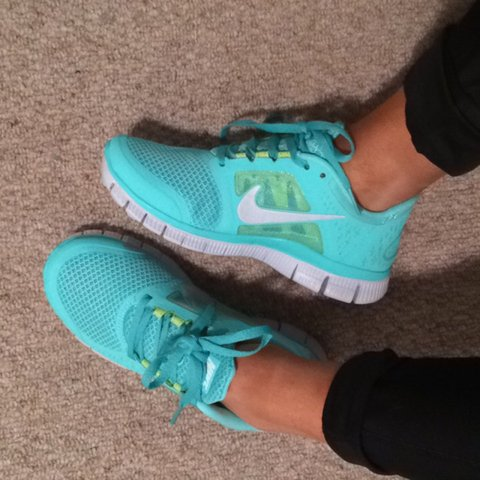 93f36dec1f031 NIKE free run size 3 trainers. Turquoise. Never been worn as - Depop