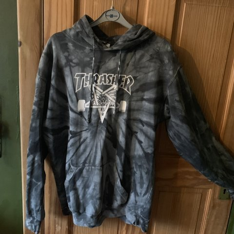fdc71b270334 Unisex Thrasher hoodie -tie dye print -never really for M - Depop