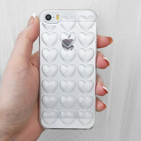 af293cacf6 3D clear bubble heart iphone case → fits iphone 5 5s and - Depop