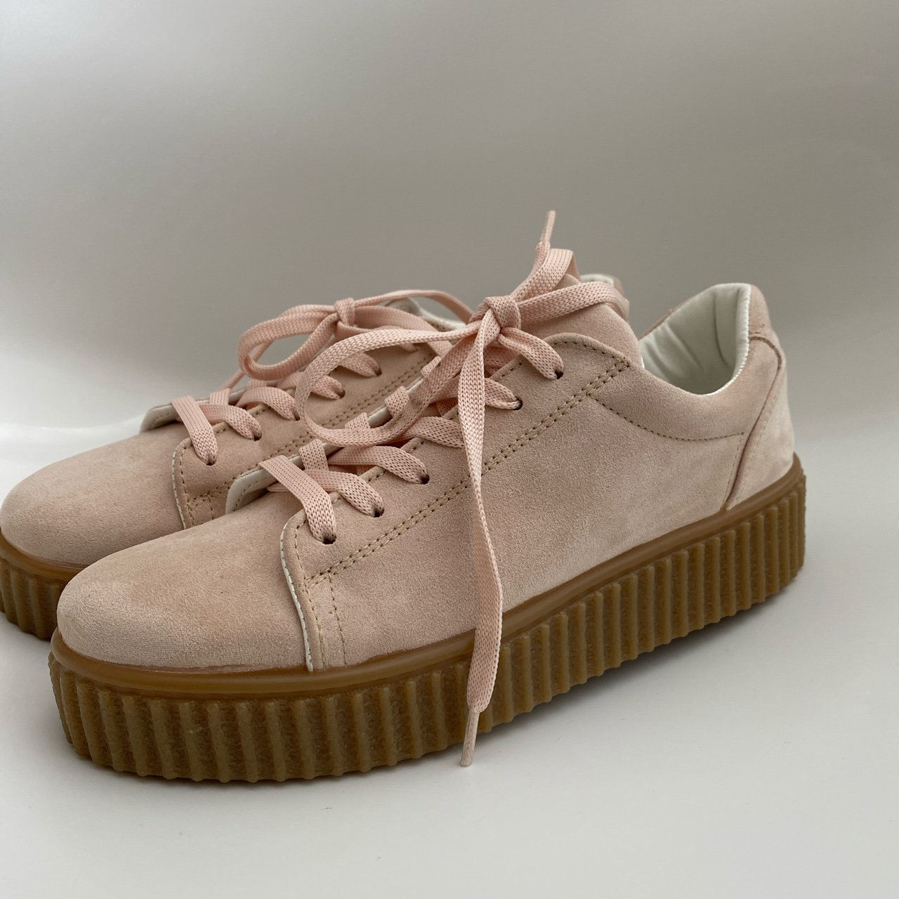SCHUH baby pink suede trainers with